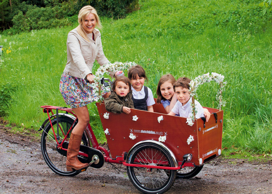 Katy Hill on her Dutch Cargo Trike